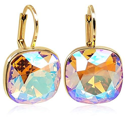 Ohrringe Gold Light Colorado Topaz Shimmer mit Kristalle von Swarovski® NOBEL SCHMUCK