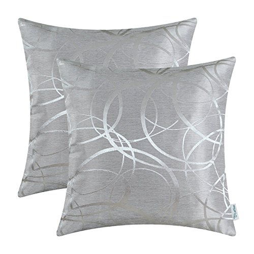 2 Packung CaliTime Kissenbezüge Kissen Shells Umkehrbare, moderne Kreisringe 50cm X 50cm Silber Grau