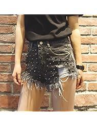 YFF Night Shop sexy Short taille haute briser trou rivet flash jeans pantalons ,L,gris noir