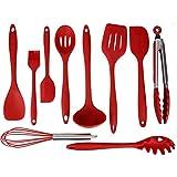 Utensilios Cocina Silicona Set of 10 by UMmaid, Cocina Antiadherente Resistente al Calor Que Cocina el Sistema Que Cuece al Horno con el Recubrimiento Sólido Higiénico (Rojo)