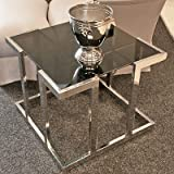 Casa Padrino Luxus Beistelltisch Silber/Schwarz 65 cm x 66 cm x H. 55 cm - Luxus Kollektion