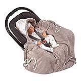 MOMIKA Einschlagdecke, Universal für Babyschale, Autositz, für Kinderwagen, Buggy oder Babybett,stylischer Silberfaden (Gray)