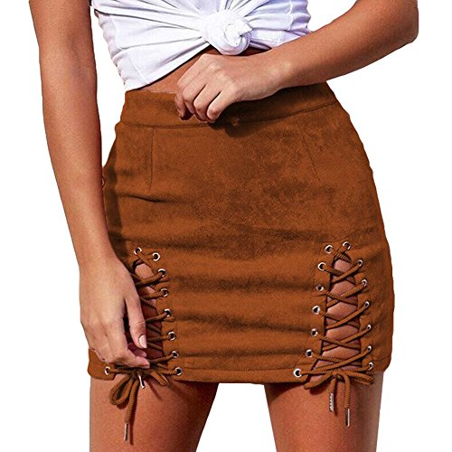 Femmes Jupes Suede Pink Pencil taille haute Bodycon hibote Vintage Lace Up Mini jupe Marron