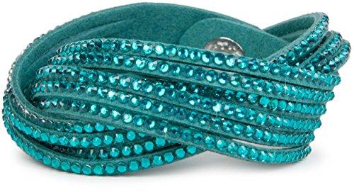 styleBREAKER weiches Strass Armband, eleganter Armschmuck mit Strassteinen, Wickelarmband, 6x1-Reihig, Damen 05040005, Farbe:Blaupetrol / Blaupetrol
