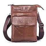 Hengying Leder Herren Kleine Umhängetasche Schulterbeutel Passport Tasche Mini Cross Body Tasche Mann Messenger Bag mit 3 Reißverschluss Fächer (Braun)