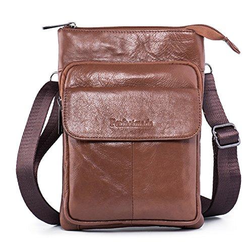 Hengying Leder Herren Kleine Umhängetasche Schulterbeutel Passport Tasche Mini Cross Body Tasche Messenger Bag mit 3 Reißverschluss Fächer (Braun) (- Leder-nylon-schulter-bag)