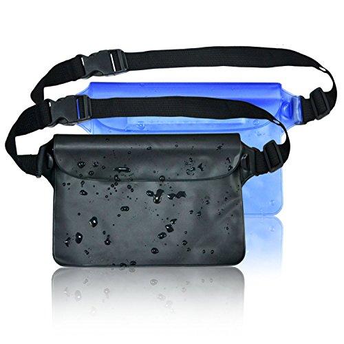 ECHTPower Wasserdichte Tasche Beutel Handyhülle Schutzhülle für Wassersport, Strand, Schwimmen, Bootfahren, Angeln, Schutzhülle Strand-Tasche für Geld, Datenträger und Smartphones, superleicht, umweltfreundlich,2 Stück, Blau und Schwarz