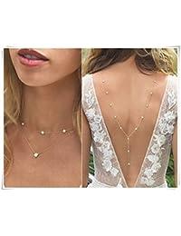 Collier de dos par Leonid Meteor Shower - Pour un mariage - Longue chaîne dans le dos idéale pour une mariée