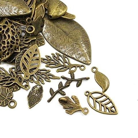 Paket 30 Gramm Antik Bronze Tibetanische ZufälligeMischung Charms (Blatt) - (HA07485) - Charming Beads