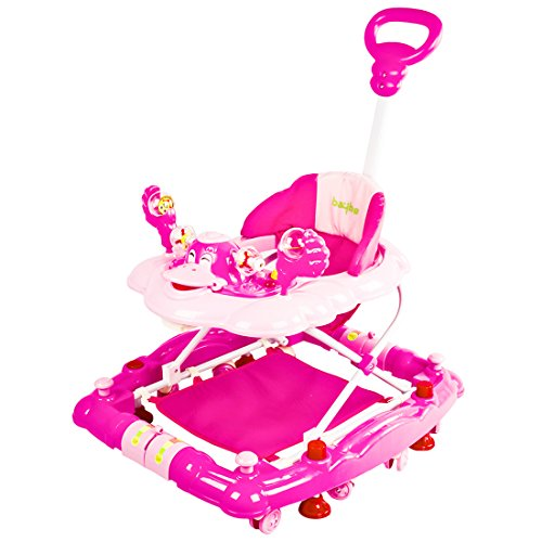 Baybee Cheezy Baby Walker Cum Rocker | Music & Light Function with 3 Position Height Adjustable with Control Push Bar (Pink)