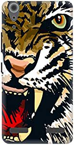 The Racoon Grip Amber Snarling Tiger hard plastic printed back case / cover for Lenovo A6000 Plus