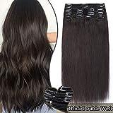 Extension Cheveux Naturel a Clip Maxi Volume - Double Weft Extensions de Cheveux Humains à Clips #1B NOIR NATUREL (8 Bandes, 22 Pouces/55cm, 160g)
