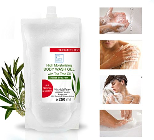 Refill Tea Tree Therapeutic Soap - Anti Fungal Anti Microbial Face Body Feet Hand Hair Nails Bath Shower Gel/Effective lice Kid's Shampoo All Skin 250ml 8.45 Fl oz