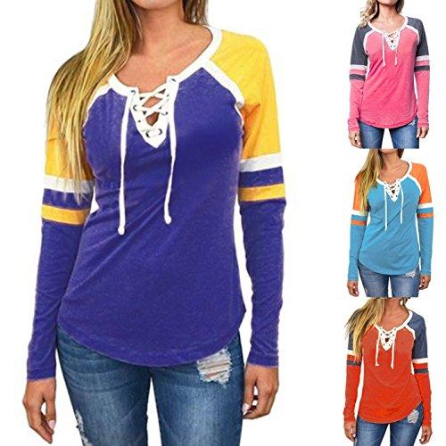 Juleya Camicia Donna Top Maniche lunghe donne Slim Fit Camicia a contrasto colore con coulisse Maglietta Scollo V Camicetta Modern Viola