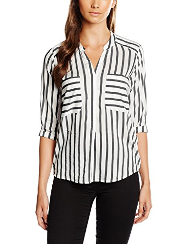 VERO MODA Damen Regular Fit Bluse VMERIKA STRIPE 3/4 SHIRT E10 NOOS 10168581, Mehrfarbig (Snow White Stripes:Black), Gr. 36 (Herstellergröße: S)