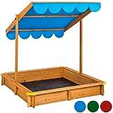 TecTake Sandkasten mit verstellbarem Dach Sitzbänke Spielhaus Holz Sonnendach Bodenplane - diverse Farben - (Blau  Nr. 402220)