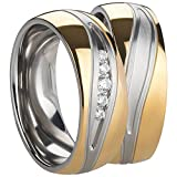Freundschaftsringe - Partnerringe - Verlobungsringe - Trauringe - Hochzeitsringe - Eheringe aus Edelstahl in gold und silber Damenring mit Zirkonia Steine.