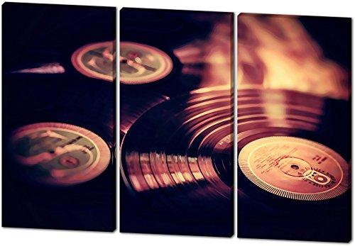 Vinyl Platten, Gemälde Effekt, schönes und hochwertiges Leinwandbild zum Aufhängen in XXL - 3 Teiler mit 120cm x 80cm, echter Holzrahmen, effektiver Pigmentdruck, modernes Design für Ihr Büro oder Zimmer