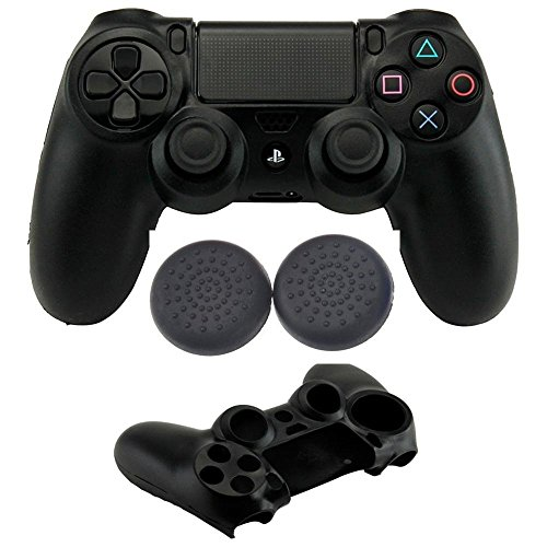 Microware PS4 Playstation Controller Silicon Grip With Thumb Stick Grip Cover Black