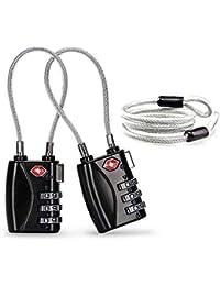 Aspen Candado de Seguridad para Maletas TSA Candados para Equipaje Candado de Combinacion 3 códigos con Cable de Acero(Negro,2 Paquetes), Cuerpo de Aleación, Discos de Fácil Lectura