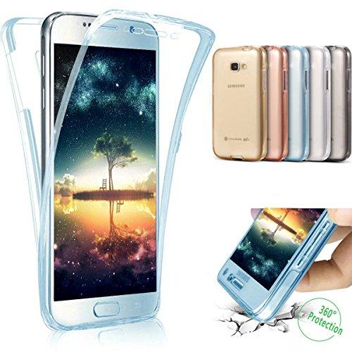 Coque Galaxy A5 2016,Etui Galaxy A5 2016,Intégral 360 Degres avant + arrière Full Body Protection Transparente Silicone Gel TPU Souple Housse Etui de Protection Case Coque pour Galaxy A5 2016,Bleu