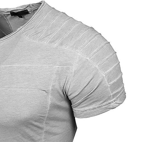 Rusty Neal Herren Rundhals T-Shirt Kurzarm Slim Fit Design Fashion Style 15040 Grau
