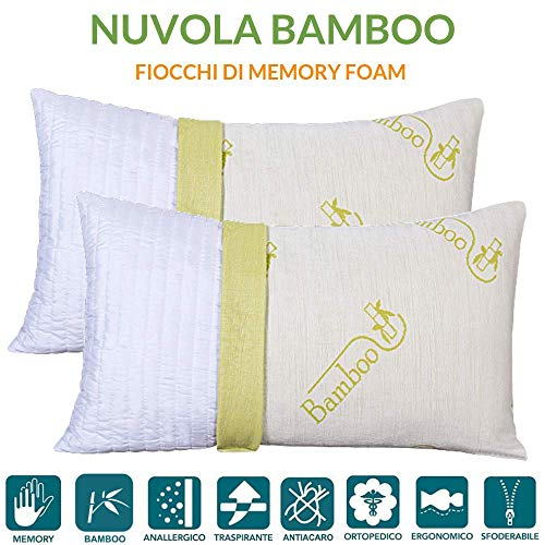Evergreenweb - coppia cuscini letto in memory foam e fodera in fibra di bamboo sfoderabili 40x70 h 12 cm, imbottitura effetto piuma con fiocchi 100% schiuma a memoria cervicali 2 guanciali per dormire