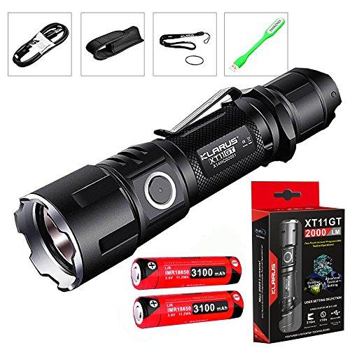 Preisvergleich Produktbild Klarus xt11gt CREE xph35 HD E4 LED 2000 Lumen Wiederaufladbare 18650 Tactical Taschenlampe mit 3100 mAh Akku + thenines USB-Light, XT11GT+3100mah