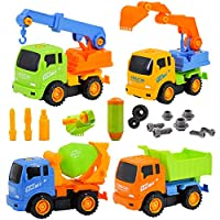 deAO Take-Apart Construction Trucks Vehicles Play Set - Set of 4 Builder Trucks and Screw Driver Included