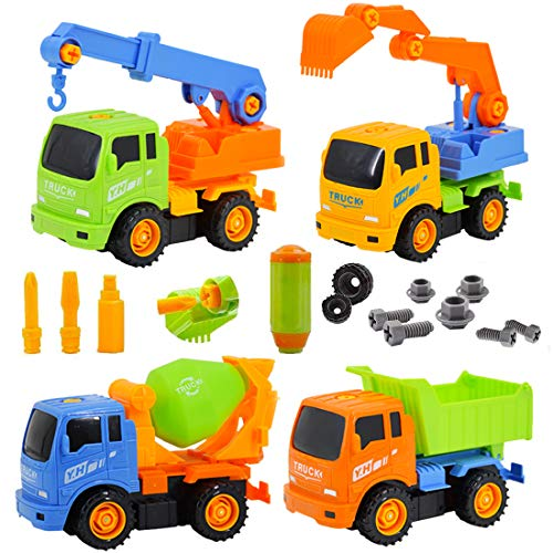 deAO Take-Apart Construction Trucks Vehicles to Assemble � Set of 4 Builder Trucks and Screw Driver Included (Multicolour)