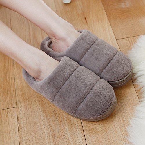 DogHaccd pantofole,Il cotone pantofole pacchetto femmina per coppie con spessi soggiorno invernale a caldo indoor anti-slittamento peluche morbido uomini piano Brown4