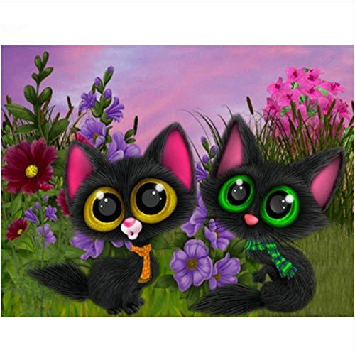 Zwei große Augen Katzen - Malen Sie nach Zahlen Wandkunst Geschenk für Erwachsene DIY Ölgemälde Home Decoration 40X50CM No Frame