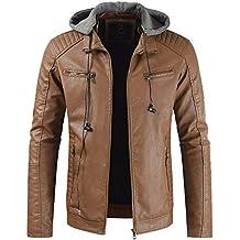 Kinlene Veste en Cuir à Revers pour Hommes Nouveau Style Homme Automne et  Hiver Revers Veste 41d2e5e3c0f8
