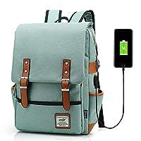 Junlion Unisex Business Laptop Backpack College Student School Bag Travel Rucksack Daypack with USB Charging Port