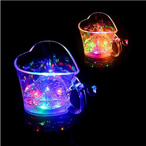 Ailiebhaus 2 Stücke Led Glas LED beleuchtetes Trinkglas Wasser Regenbogen Longdrinkglas 250ML für Home / Bar / Party / Feier