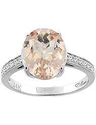 Revoni 14ct oro Natural del anillo de 11 x 9 mm Oval colgantes diamantes