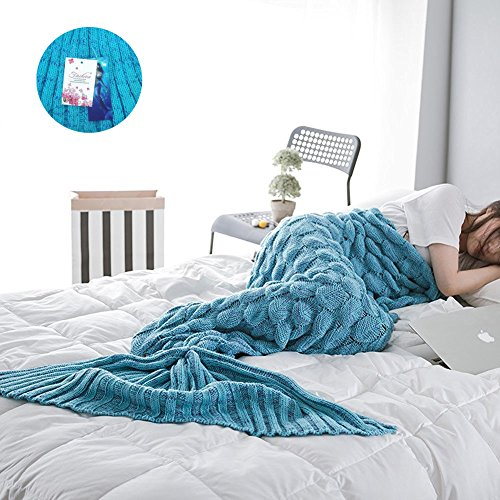 LoveLife negozio Mermaid Tail cover, modello scala del Pesce Maglia a mano stare al caldo sacco a pelo divano Soft Air Condi nei adulti (76,7a 80,7pollici di lunghezza, una larghezza di 35,4pollici di larghezza) paon bleu