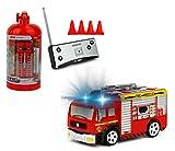 Brigamo Mini RC Feuerwehrauto mit Blaulicht, Ferngesteuertes Auto im Deko Feuerlöscher, Feuerwehr Löschfahrzeug, ideales Geschenk für Feuerwehr Fans (27 Mhz)