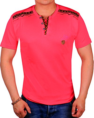 Herren T Shirt V-Neck bis 5XL | T-Shirt für Herren Slim Fit | Race Redway Design mit Leder Applikationen | kurzarm Herrenshirt | sportliches Sommer Shirt 2031 Pink 2031