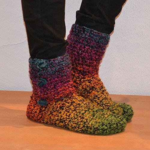 HäkelSet Donegal Tweed Farbverlauf Booties unisex, Größe:36-41