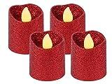 Trend-world Bougies à LED Scintillante Bougie Rouge pailletté Brillant décorative, réutilisables Petite Bougie Sûre et Propre Ambiance agréable, LED-Teelicht TL-11 Rot:4 pièces