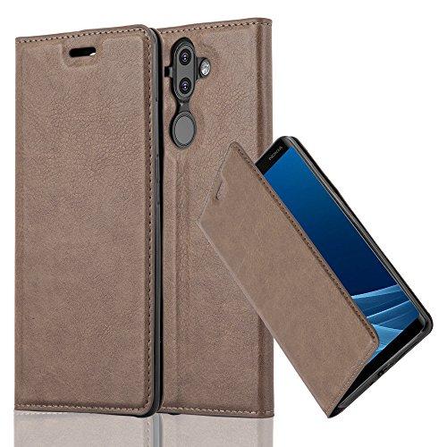 Cadorabo Hülle für Nokia 8 Sirocco/Nokia 9 2017 - Hülle in Kaffee BRAUN – Handyhülle mit Magnetverschluss, Standfunktion und Kartenfach - Case Cover Schutzhülle Etui Tasche Book Klapp Style