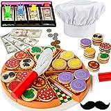 Kinder Holzspielzeug Komplettes Rollenspiel-Set Pizza-Restaurant (121 Teile) Zubehör Spielküche mit Verkleidung Pizzabäcker Kochmütze Schnurrbart Lebensmittel-Stücke + Belag mit Klett