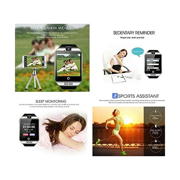 Reloj Inteligente, Smartwatch Bluetooth y Ranura para Tarjeta SIM con Rastreador de Actividad, Podómetro, Cronómetros Reloj de Fitness, Reloj Iinteligente Hombre Mujer niños Android/iOS Phone 4