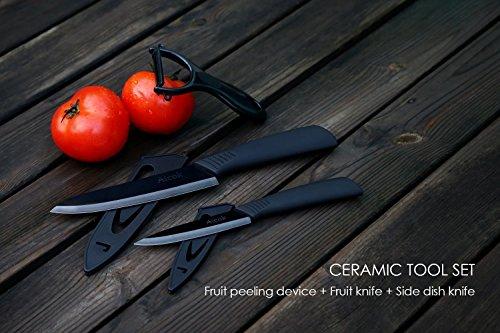Aicok cuchillos  juego de cuchillos de cerámica. Incluye 2 cuchillos de cocina diferentes y un pelador