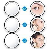 Beweglicher Led Kosmetikspiegel Lightswim natürliches Tageslicht belichtete LED bilden Spiegel mit 1X / 5X / 10X Lupen Dreifachgefaltete Eitelkeit für Reise USB aufladbares Aufladen