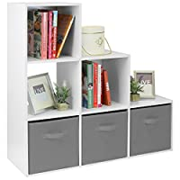 Hartleys White 6 Cube Unit & 3 Grey Storage Drawers