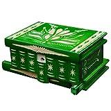 TransylvanyArt Holzkiste mit Deckel Geheimversteck Schmuckkästchen für Damen Trickbox Holz geschnitzt 15 x 11 x 8 cm (Grün)