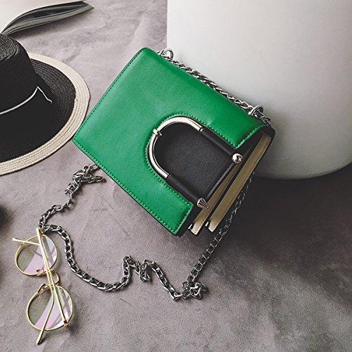 Weibliche u-typ-verschluss-kette schlagfarbe kleine quadratische paket-art und weiseschulter-diagonalpaket Grün