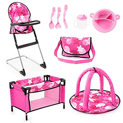Bayer Design 61749AB Set 9 in 1 for dolls with highchair, bag, plate with cutlery and drinking cup, a play mat and travel bed, doll accessories set, pink stars